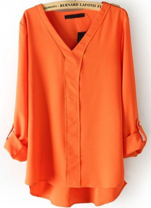 Orange V Neck Long Sleeve Rivet Dipped Hem Blouse - Sheinside.com