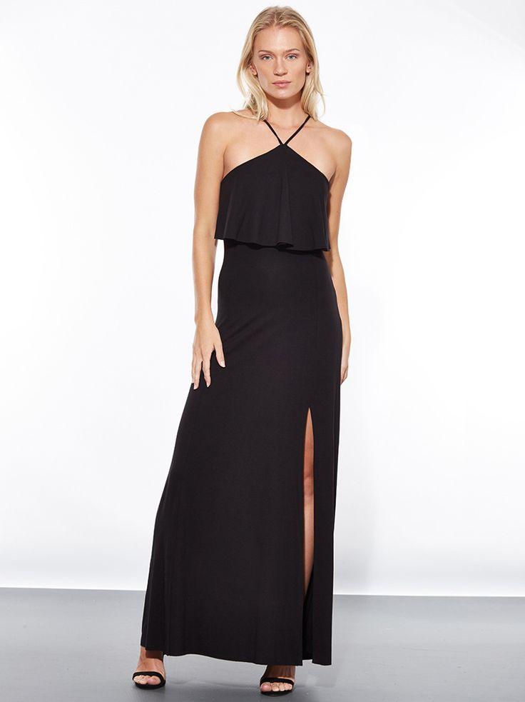 Maxi φόρεμα από βισκόζη με βολάν και άνοιγμα στο μπροστινό μέρος