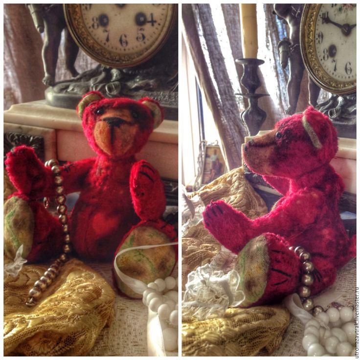 Купить мишка тедди Надежда, изготовлен из винтажного плюша - ярко-красный, мишка, мишка тедди