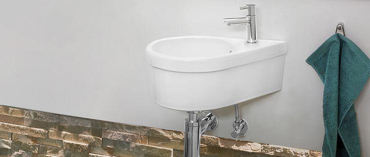 Mini Eckwaschbecken für die kleinen Bäder #Calmwaters #Gäste #WC #Waschbecken #Waschtisch #small #Storage
