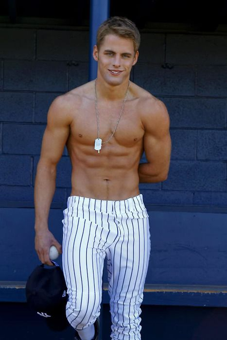 Baseball: The ideal uniform would be baseball pants and no shirts