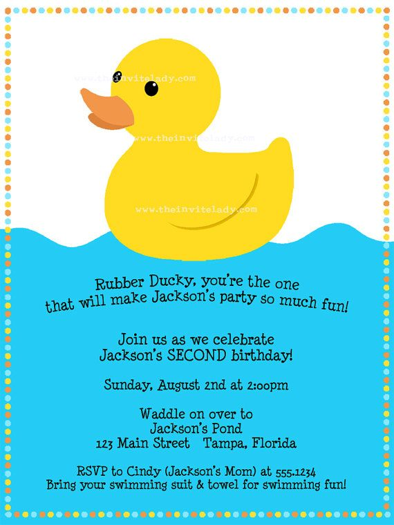 Rubber Ducky Birthday Party Invitation First Birthday