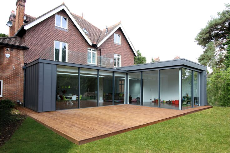 Image result for flat roof extension with glass balcony