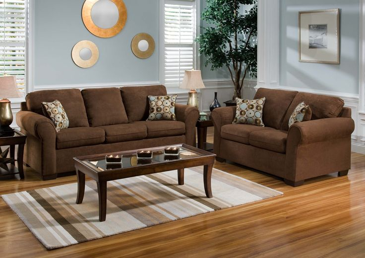 Living Room With Brown Couch Green Google Search