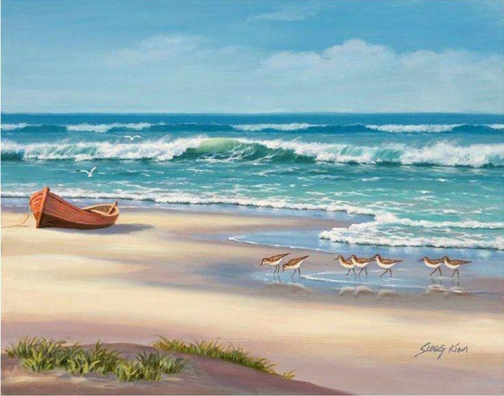 Sandpiper March II by Sung Kim ~ beach coastal ocean