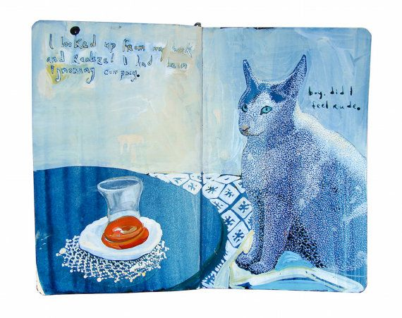 """This print is a reproduction of a painting I made in my travel sketchbook with acrylic ink in a Moleskine journal. Text at top reads, """"I looked up from my book and realized I had been ignoring company. Boy, did I feel rude."""" It was painted on location in Istanbul, Turkey. All images and poetry are original. I photograph my sketchbook laying open on a white background. The print displays the open book as a whole, including the centerfold, ragged edges, and (on some) the journals bookmark…"""