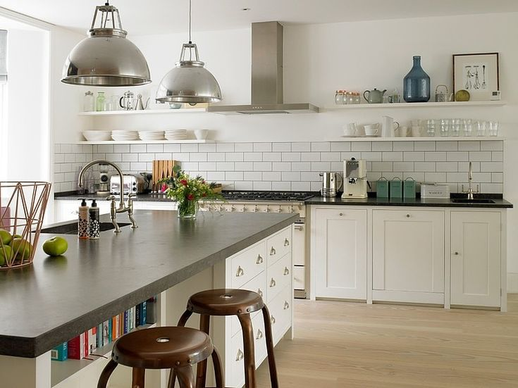 Simple units, metro tiles and open shelving - love, love, love!