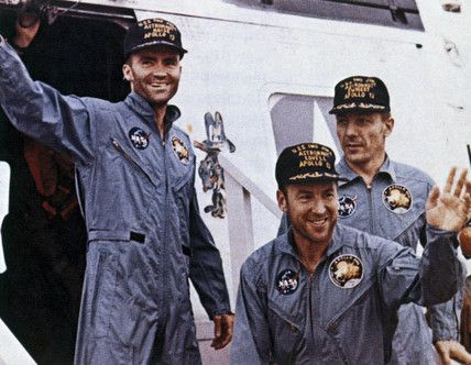 The ultimate in teamwork ~ Apollo 13 astronauts after rescue, 1970....James Lovell, John Swigert, Fred Haise.