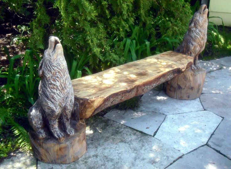 Wolf Carved Bench Wolf Bench Board Ideas Pinterest