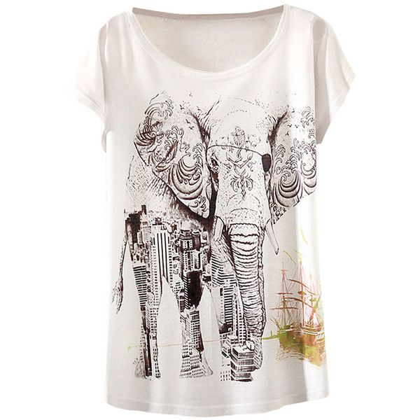 White Elephant Printed Bat Sleeve Crew Neck Fashion Ladies T Shirt ($8.09) ❤ liked on Polyvore featuring tops, t-shirts, white, white crew t shirt, crew-neck tee, polyester t shirts, summer t shirts and white summer tops