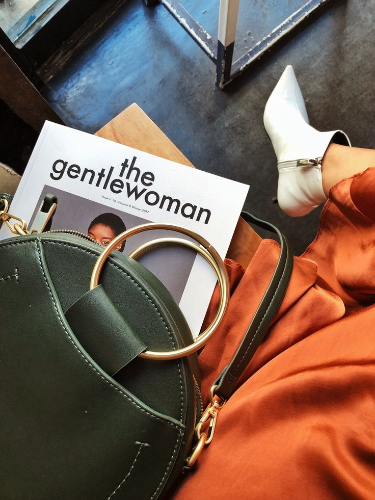 "The gentlewoman magazine flat lay. Green round Zara bag ""Chloé inspired"", H&M rust copper satin skirt, Zara white Pantene leather boots."