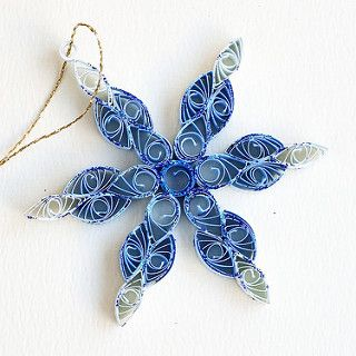 6 point blue and white quilled snowflake with blue glitter… | Flickr