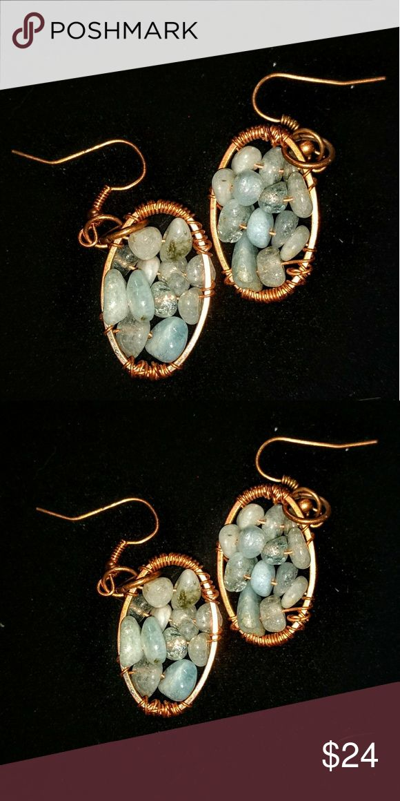 Ooak, Hm, recycled copper Gemstone earrings BOHO Recycled Copper wire wrapped with aquamarine Gemstone earrings!!  Perfect for the casual weekend in jeans or dress them up for the work week with your favorite fall scarf! HANDMADE OOAK Jewelry Earrings