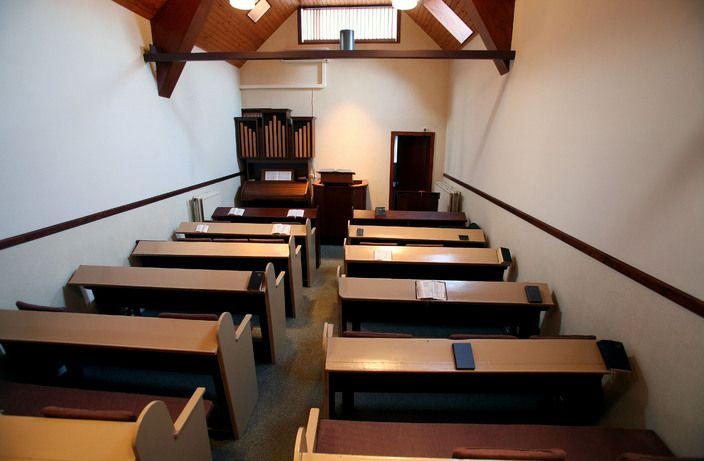 Interior of the small Gereformeerde Gemeente in Nederland (Reformed Congregations in the Netherlands) of #Goudswaard.