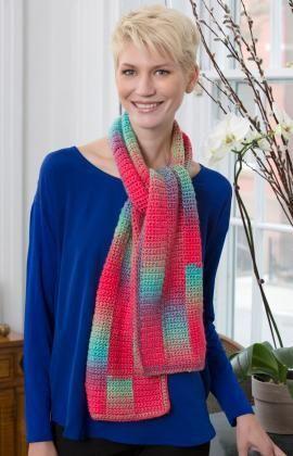 Gradient Strip Scarf Free Crochet Pattern from Red Heart Yarns