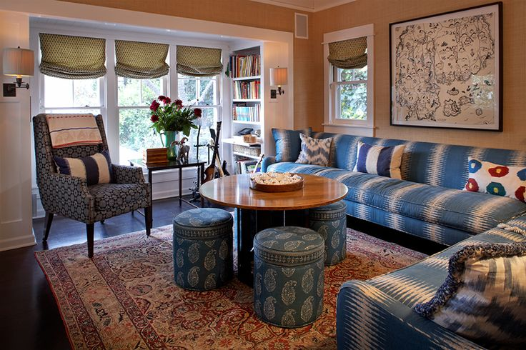 Designed by Kristen Panitch I spy A little Peter Dunham fabulousness in there (Sofa fabric and ottos).