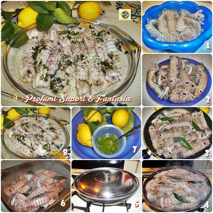 Canocchie lessate con salsa aromatica   ricetta di pesce