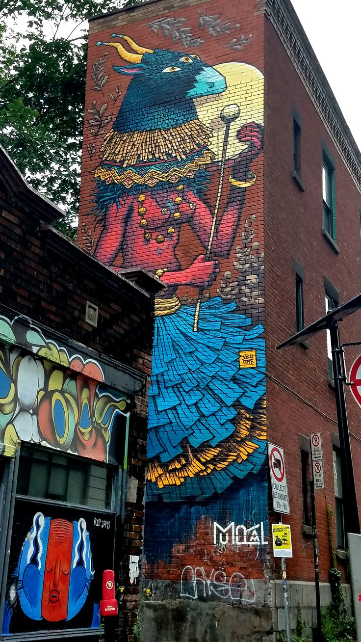 Montreal, Quebec - Street Art & Graffiti.  This is a fun work from the French artist SbuOne @sbuone - in the Mont Royal district of Montreal. This was part of the 2017 Mural Fest which warrants a call-out of my friends at @station16gallery for being the leading sponsor. Station 16 is the rocking art gallery in the Mont Royal district that really pushes the ticket on street art and more!  Original Photography by R. Stowe