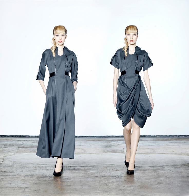 One dress, two looks. Transformable by buttons. Jolier