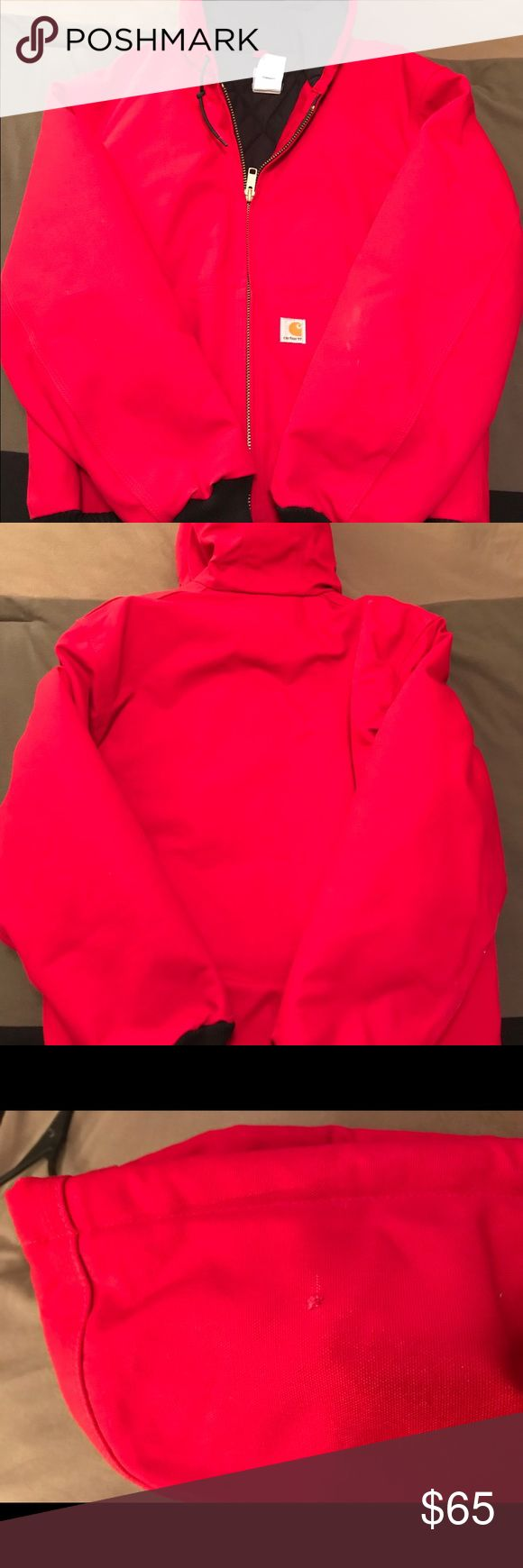 Carhartt Duck Active Jacket This jacket is in great condition! It has one snag on the hood as is listed in the pictures but it's comfortable, warm and perfect for fall/winter weather! The red stands out and is perfect for supporting your favorite sports team! Carhartt Jackets & Coats Utility Jackets