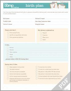 Tool: Birth Plan - Pregnancy - Child Labor and Delivery... Great outline so you don't forget anything!: