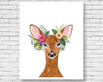 Herten afdrukken met herten gewei, Woodland Decor, kunst aan de muur, Woodland kwekerij, Animal Print, afdrukbare Art, dieren van het bos, aquarel