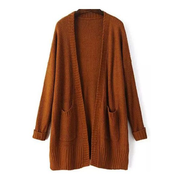 SheIn(sheinside) Khaki Long Sleeve Pockets Loose Mohair Cardigan ($27) ❤ liked on Polyvore featuring tops, cardigans, outerwear, sweaters, khaki, cut loose tops, brown tops, mohair cardigan, loose cardigan y pocket cardigan