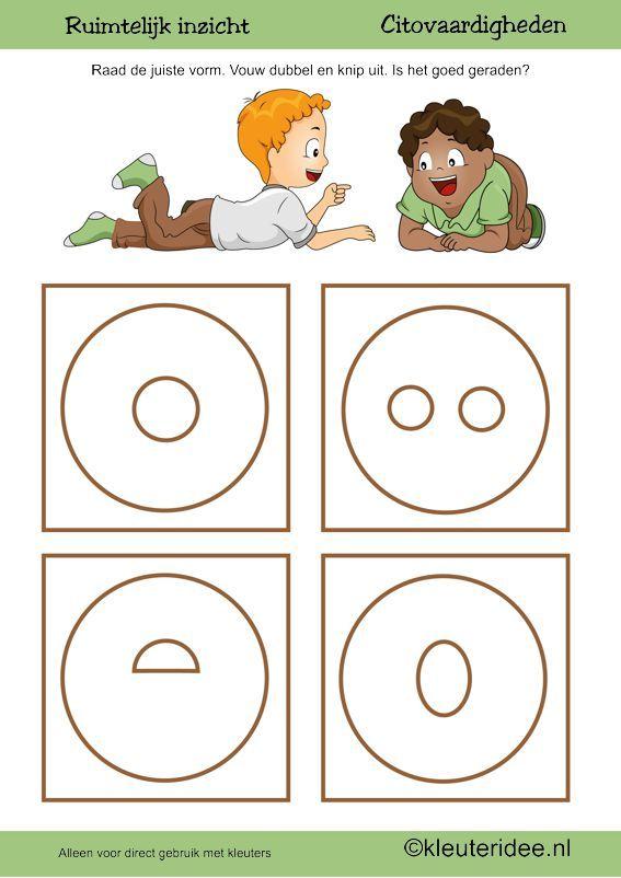 Citovaardigheden voor kleuters, kleuteridee.nl ,ruimtelijk inzicht cirkel , rekenen voor kleuters, free printable