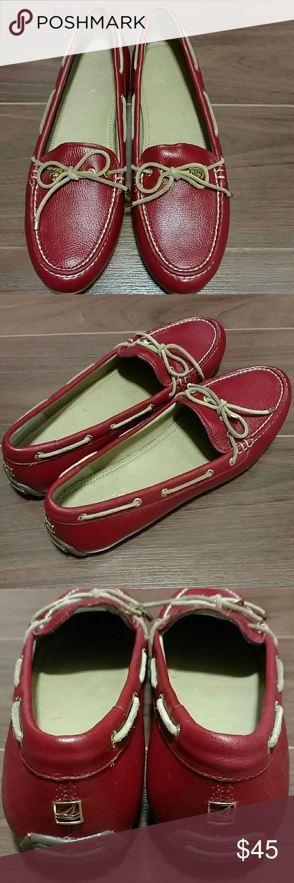New Sperry red leather shoe Brand new, never worn.  Driving moc made of gorgeous red leather.  They are so cute! Sperry Top-Sider Shoes Flats & Loafers