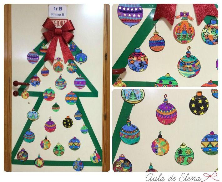 Decoraci n de navidad de la puerta del aula de elena for Ambientacion para navidad