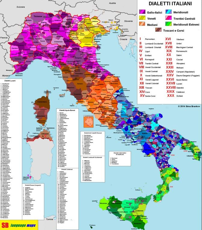 "This map of Italian ""dialects"" is in fact representing different languages. It should be noted that there are also different ways of speaking Italian which are indeed dialects of one language, Italian."