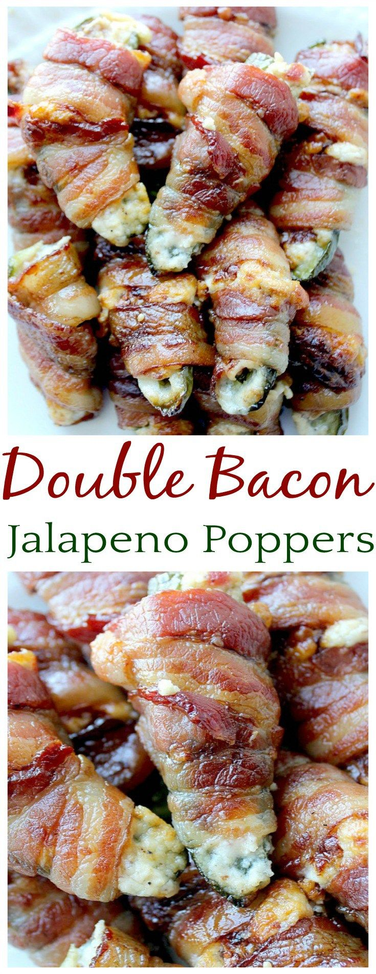 These Double Bacon Jalapeno Poppers made the perfect appetizer recipe! I can see them being the perfect tailgating recipe too! Bacon isn't just wrapped around the outside..it's in the filling too! Because you really can't have too much bacon, can you?!?