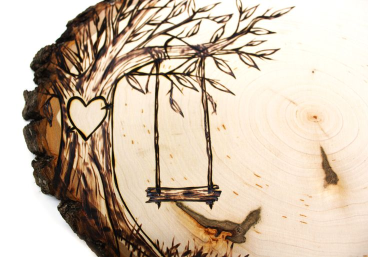 wood burning design templates - tree swing country design wood slice rustic theme wedding