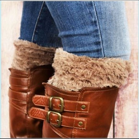 "Taupe Faux Fur Boot Cuffs One size fits most. 100% polyester. 6"" tall x 10"" circumference. Accessories Hosiery & Socks"