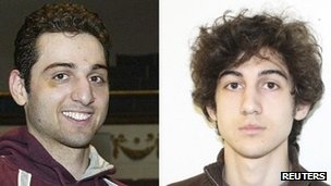 Tamerlan Tsarnaev (L), 26, and his brother Dzhokhar Tsarnaev, (R) 19 are the terrorists responsible for the Boston Marathon bombings on April 15, 2013 where they killed 3 and injured 140 more. Four days later they killed a MIT police officer and injured a Watertown, MA police officer in a shoot out with police. The oldest brother was killed and the younger brother injured.  Terrorism, Capital Murder, and a host of other charges will be filed against the youngest Russian terrorist.