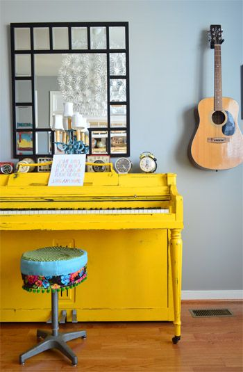 ! Paint the piano??!! love it. And the mirror. House Crashing: Joyful & Happy Go Lucky | Young House Love