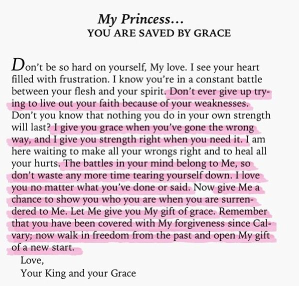 To My Princess... you are saved by Grace