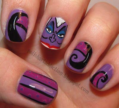 UrsulaPolish Art, Nails Art Ideas, Halloween Costumes, Nails Ideas, The Little Mermaid, Ursula Nails, Disney Nails Art, Disney Fashion, Disney Movie