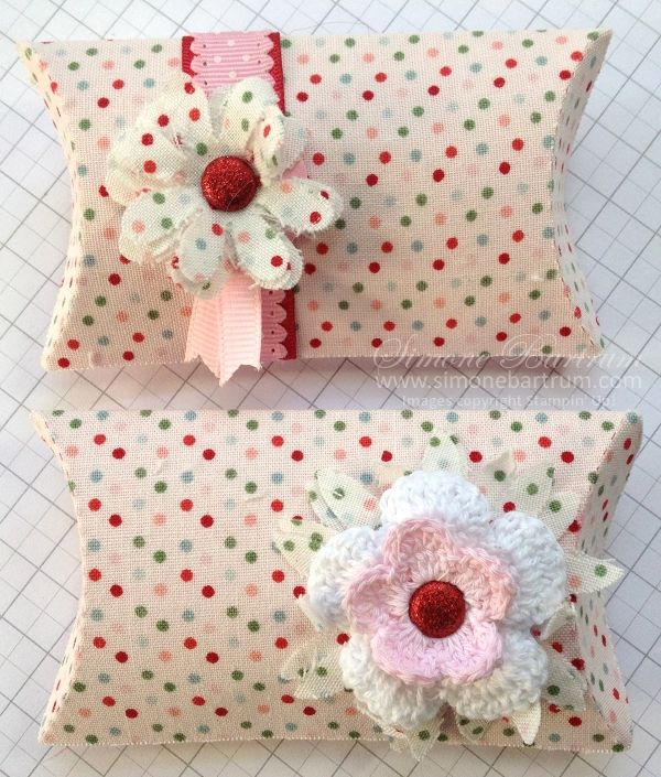 pillow boxes | Pillow Boxes made with Candy Cane fabric, embellished with Real Red ...