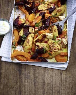 Ofenkartoffeln mit Kürbis, Rote Bete und Sellerie Schmand durch Sojasahne oder Sojajoghurt ersetzen