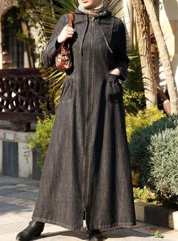 denim, hooded, zippered jilbab