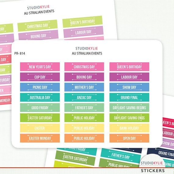 Australian Events And Public Holidays  Planner Stickers: Use these in your planner or on a calendar to remind you of Aussie events. #Celebrate