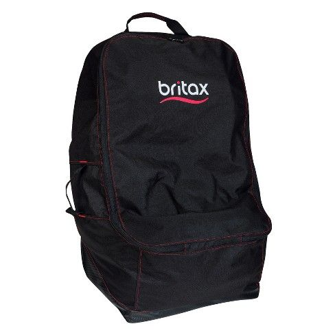 This Britax Car Seat Travel bag features a double zipper opening, an adjustable shoulder strap and storage pockets. The water-resistant nylon carrying bag folds up for easy transport. In addition to fitting Britax Car Seats, it's compatible with seats from most other major car-seat brands.