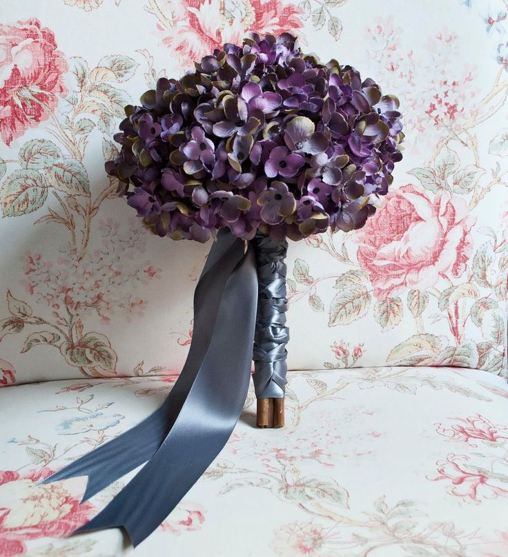 Lavender and Gray Hydrangea Wedding Bouquet