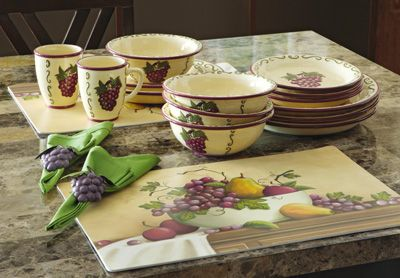 Grapevine Dishes 16 Piece Ceramic Dinnerware Set With
