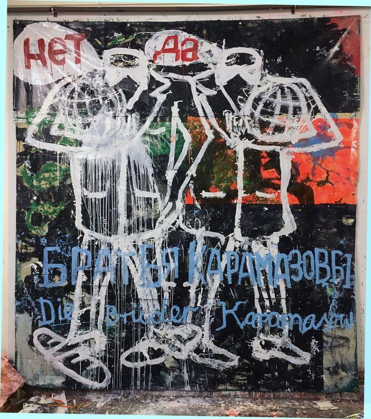 Hermann Josef Hack, DIE BRÜDER KARAMASOW, 161214, painting and spray paint on tarpaulin, 328 x 300 cm, 2016