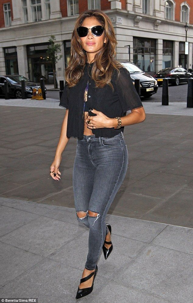 Nicole Scherzinger.. sheer open blouse, J Brand Alana High Rise in Nemesis, Narciso Rodriguez Julianna Pumps, and Miu Miu 10 Ns 1ab3m1 Sunglasses..... - Celebrity Fashion Trends