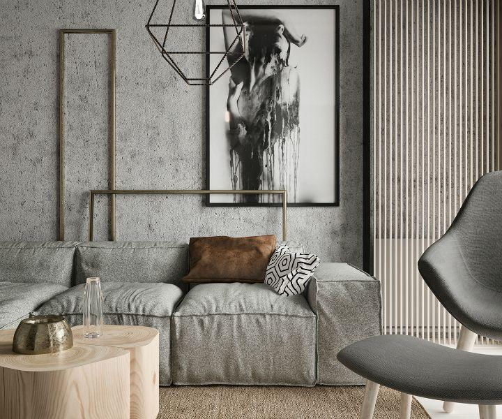 small contemporary gray apartment interior design 2