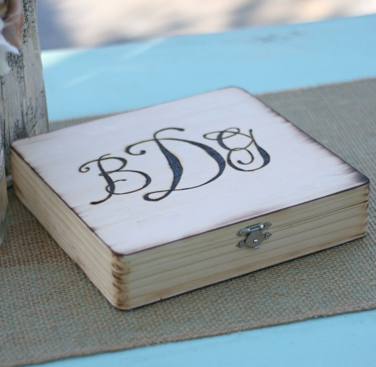 Rustic Cigar Box Wedding Gift For Groomsmen Best Man Monogrammed (item E10024). $35.50, via Etsy.