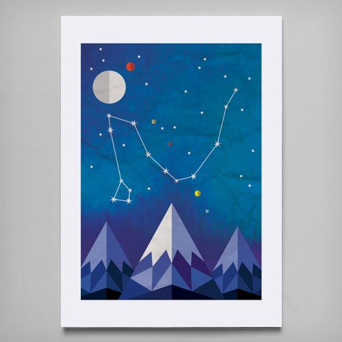 'Draco' (The Dragon) is a print reproduced from my original digital illustration. Draco is a constellation in the far northern sky. Its name is Latin for dragon. #draco #constellation #art #print
